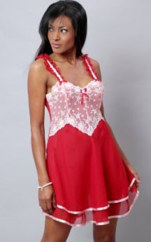VX Intimates Chiffon Baby Doll with Embroidered Lace (Red/Pink)