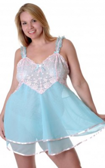 VX Intimates Chiffon Baby Doll  with Embroidred Lace (Aqua/Pink)