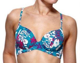 Audelle Swimwear Malibu Padded Bikini Top (Turquoise Pattern)