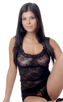 VX Intimate Stretch Lace Cami & Boyleg Short Set (Black)