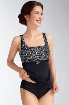 Amoena Swimwear Morena Mastectomy Tankini Top No Underwire (Black/Multi)