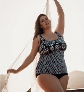 Genevieve Swimwear Henna Print Underwired Tankini Top (Grey/Navy/White)