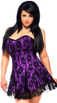 Lace Corset Dress Purple