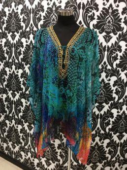 Solitaire Short Kaftan Top Embellished V Neck Lace Up