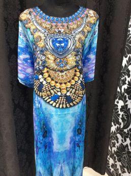 Heavenly Kaftan Blue Embellished Round Neck