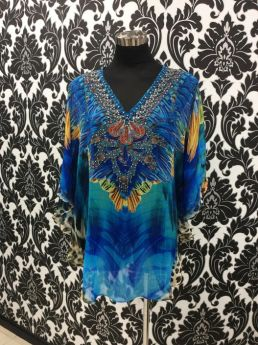 Solitaire Bat Wing Top with Embellishment V Neck