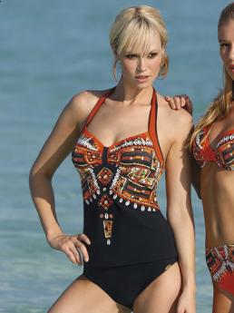 Sunflair Non Underwire Tankini Top (Orange/Black)